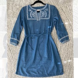 Denim chambray Loft dress with embroidery